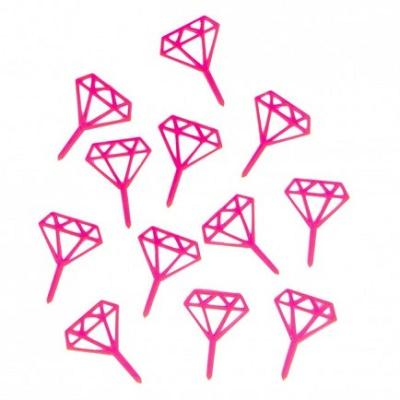 Neon Pink Gem Treat Toppers (12 pack)