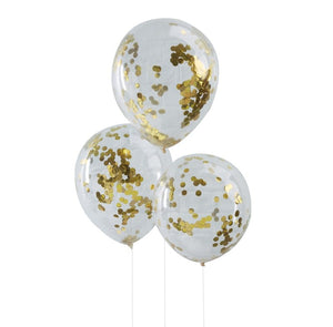 Load image into Gallery viewer, Gold Confetti Balloons (5 pack)