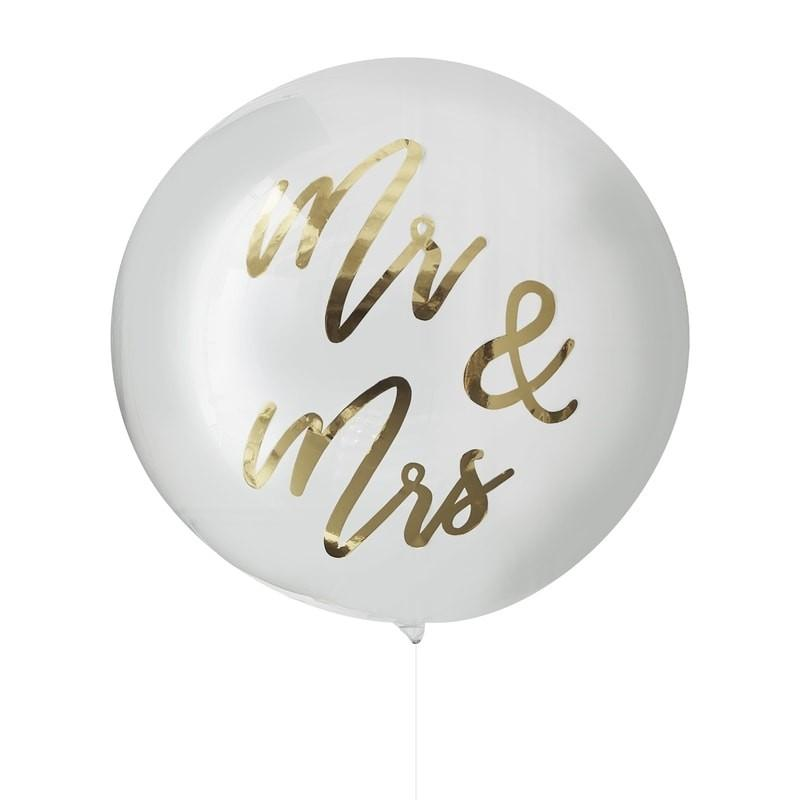Gold Mr & Mrs Orb Balloon