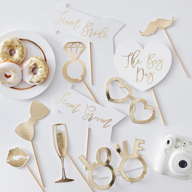 Gold Wedding Photo Booth Props (10 pack)