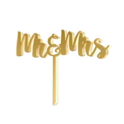 Mr & Mrs Gold Mirrored Cake Topper