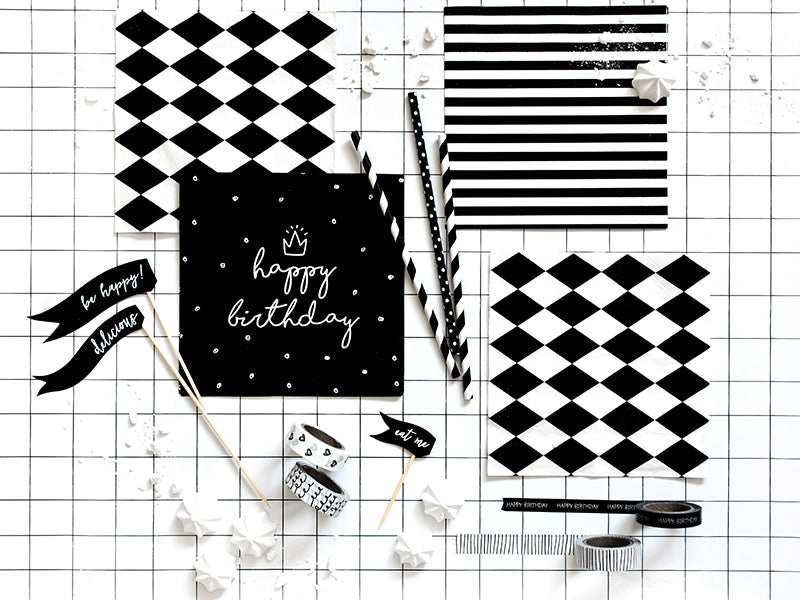 Load image into Gallery viewer, Black & White Striped Napkins (20 pack)