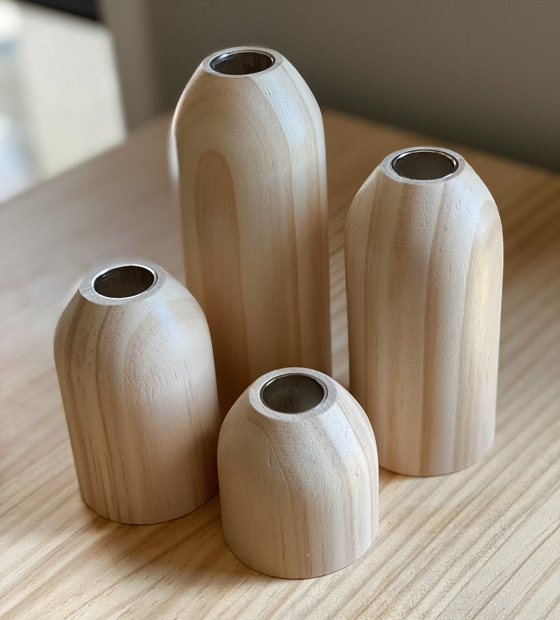 Natural Timber Candle Holders (4 set)