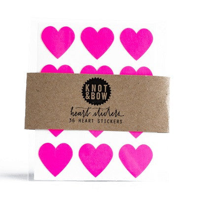 Neon Pink Heart Stickers (36 pack)