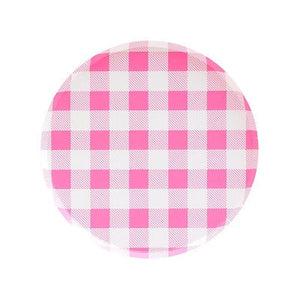Load image into Gallery viewer, Neon Rose Gingham Dessert Plates (8 pack)