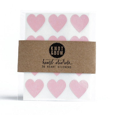 Pale Pink Heart Stickers (36 pack)