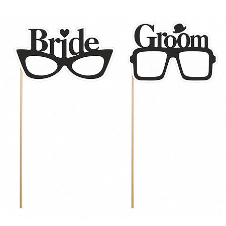 Bride & Groom Glasses Photo Props (2 pack)