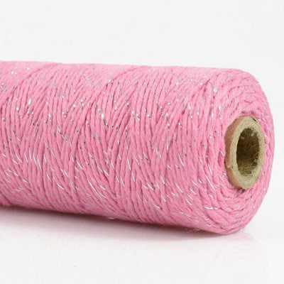 Load image into Gallery viewer, Pink & Silver Shimmer Bakers Twine (100m)
