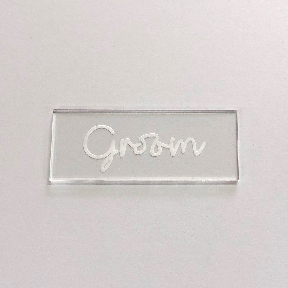 Groom Script Clear Place Card