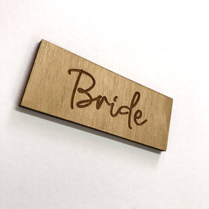 Load image into Gallery viewer, Bride Script Wooden Place Card