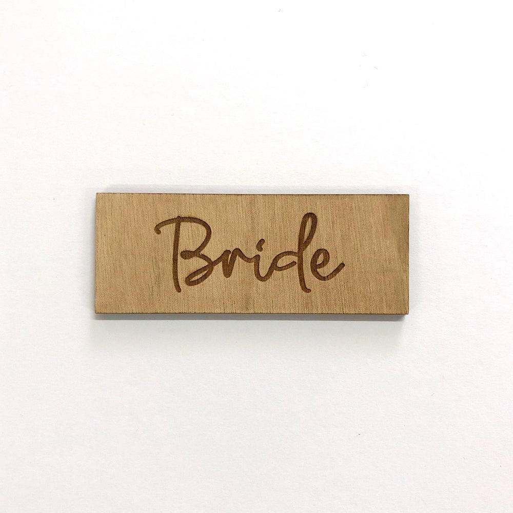 Bride Script Wooden Place Card