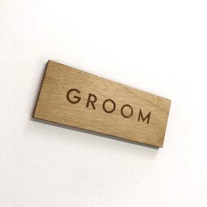 Groom Wooden Place Card
