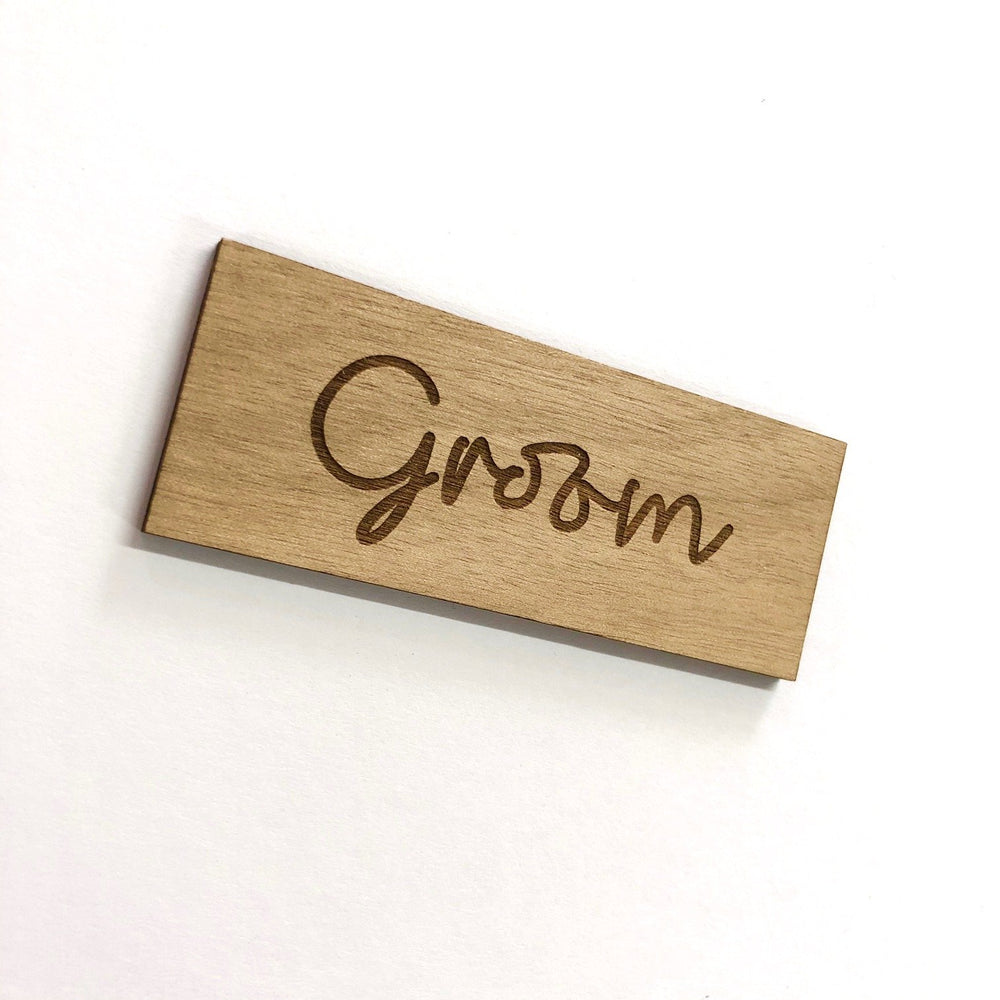Groom Script Wooden Place Card