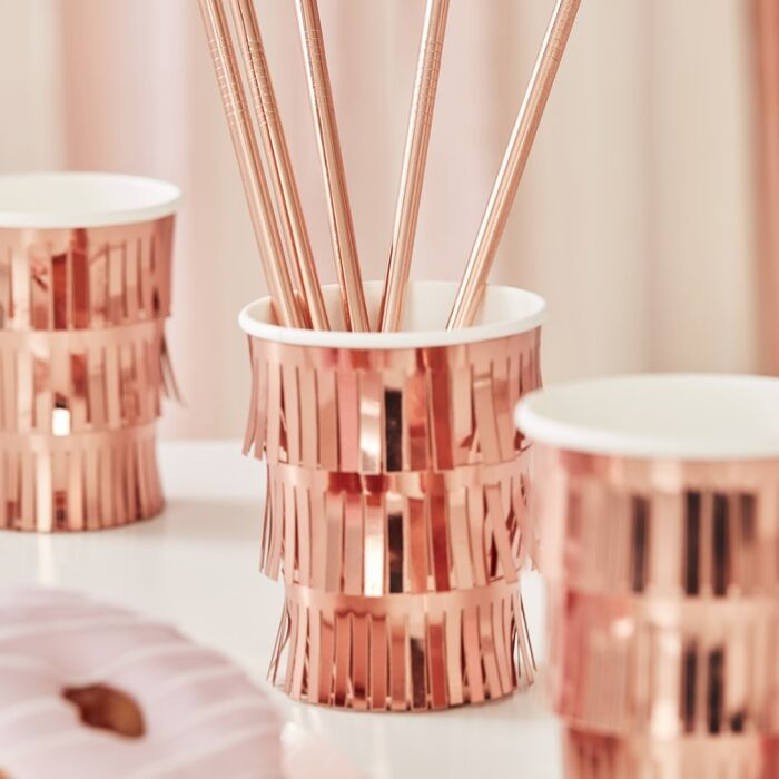 Load image into Gallery viewer, Rose Gold Fringe Cups (8 pack)