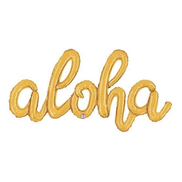 Load image into Gallery viewer, Gold 'ALOHA' Script Balloon