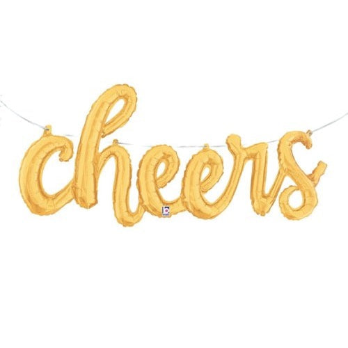 Gold 'CHEERS' Script Balloon