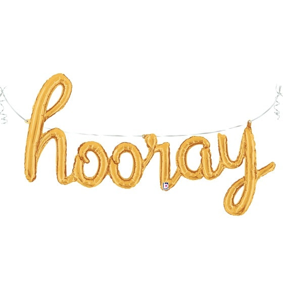 Gold 'HOORAY' Script Balloon