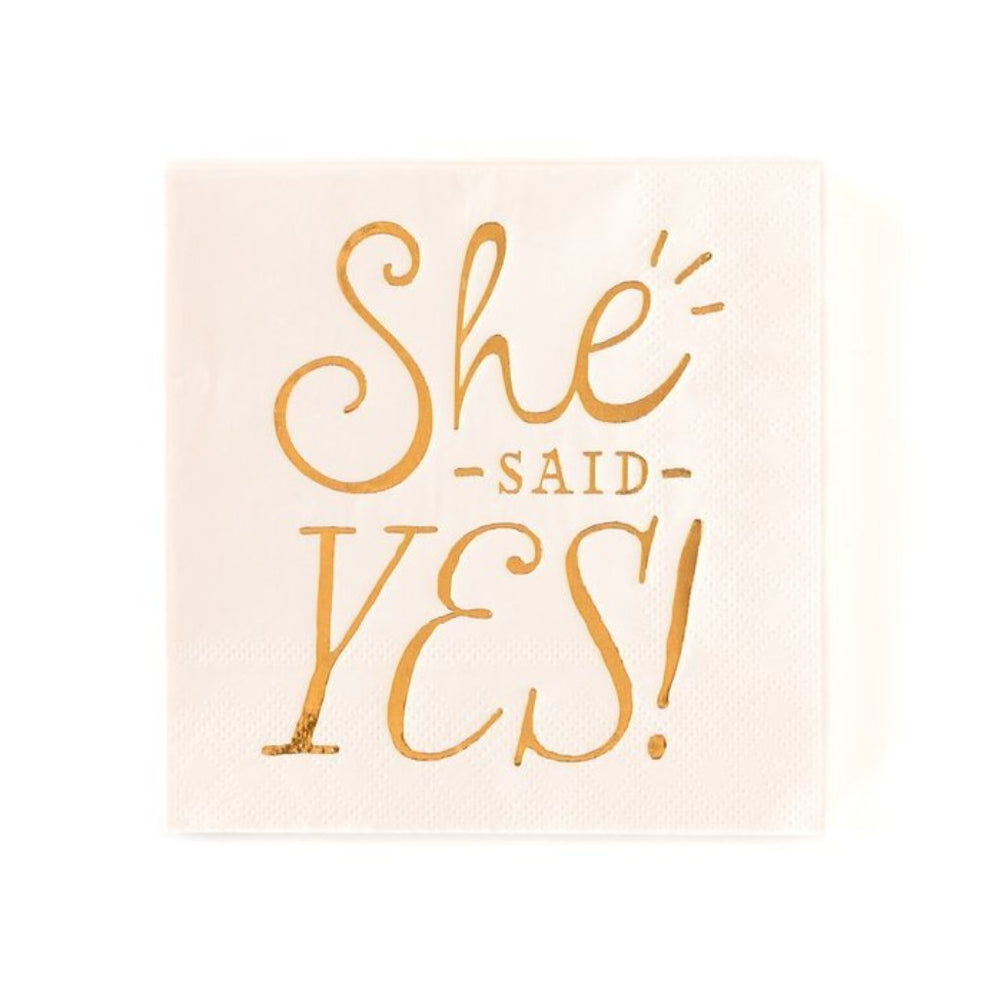 Pink 'She Said Yes' Cocktail Napkins (18 pack)