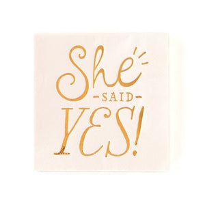 Load image into Gallery viewer, Pink 'She Said Yes' Cocktail Napkins (18 pack)