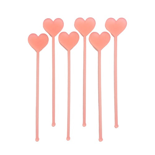 Frosted Pink Heart Drink Stirrers (6 pack)