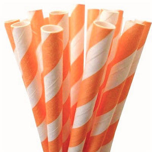 Load image into Gallery viewer, Peach Striped Straws (25 pack)
