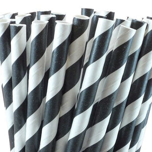 Load image into Gallery viewer, Black Striped Straws (25 pack)