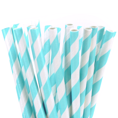 Blue Striped Straws (25 pack)