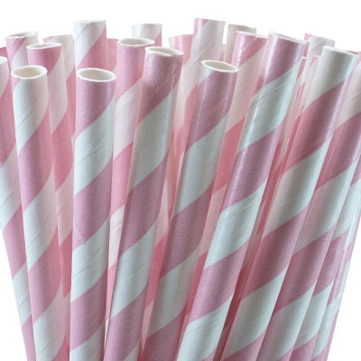 Pale Pink Striped Straws (25 pack)