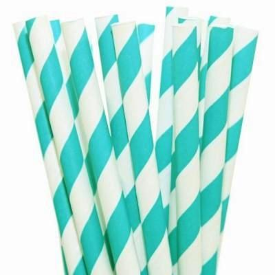 Aqua Striped Straws (25 pack)