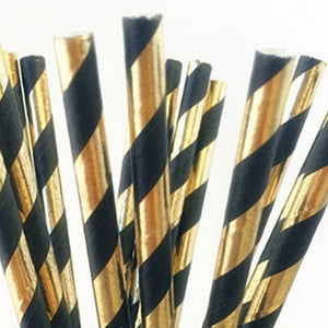 Load image into Gallery viewer, Black & Gold Striped Straws (25 pack)