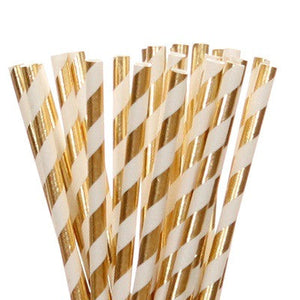 Gold Foil Striped Straws (25 pack)