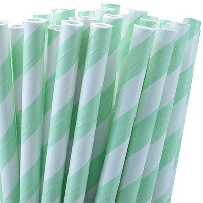 Load image into Gallery viewer, Mint Green Striped Straws (25 pack)
