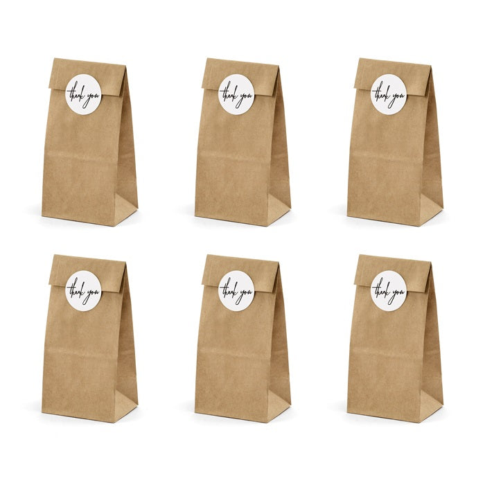 Kraft Treat Bags & Thank You Stickers (6 pack)