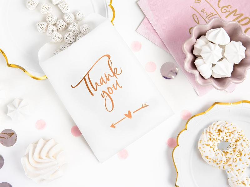 Rose Gold Thank You Treat Bags (6 pack)
