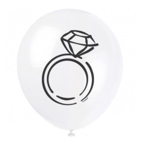 White Diamond Ring 30cm Balloons (8 pack)