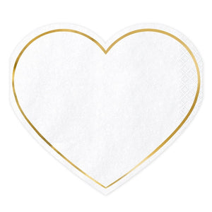 White & Gold Heart Napkins (20 pack)