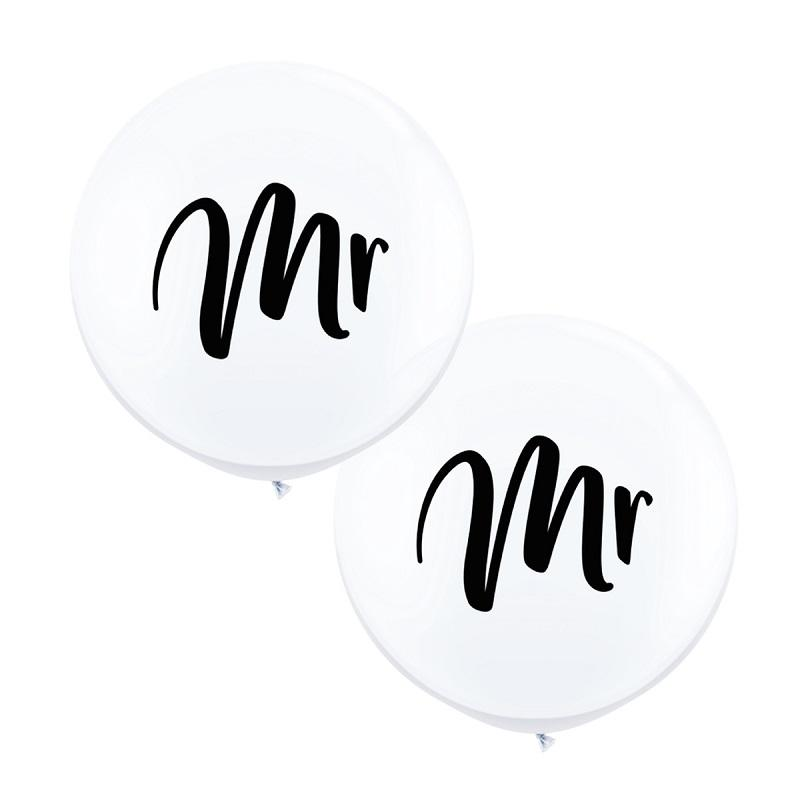 Mr & Mr White Jumbo Balloons (2 pack)