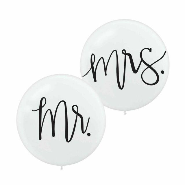 Load image into Gallery viewer, Mr & Mrs White 60cm Balloons (2 pack)