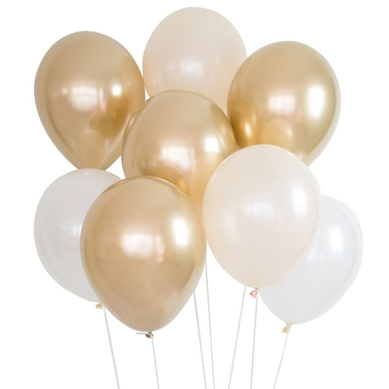 Load image into Gallery viewer, Gold & White Balloon Bouquet
