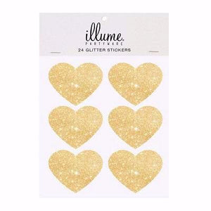 Gold Glitter Heart Stickers (24 pack)