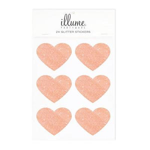 Rose Gold Glitter Heart Stickers (24 pack)