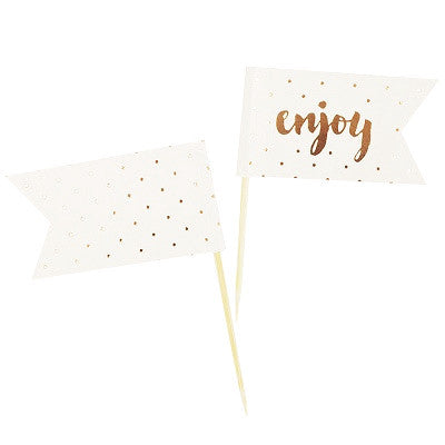 Gold 'Enjoy' Cupcake Toppers (12 pack)