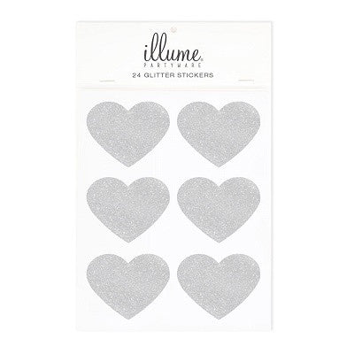 Silver Glitter Heart Stickers (24 pack)