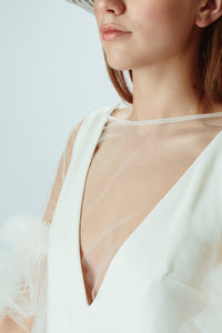Maya Tulle Top in Silk White