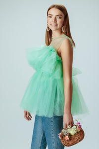 Angel Tulle Top in Mint Green