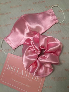 Face Mask and Scrunchie Combo in Pink Satin