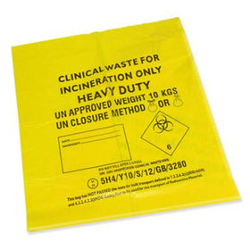 26 x 44 inch 40mu yellow biohazard refuse sacks