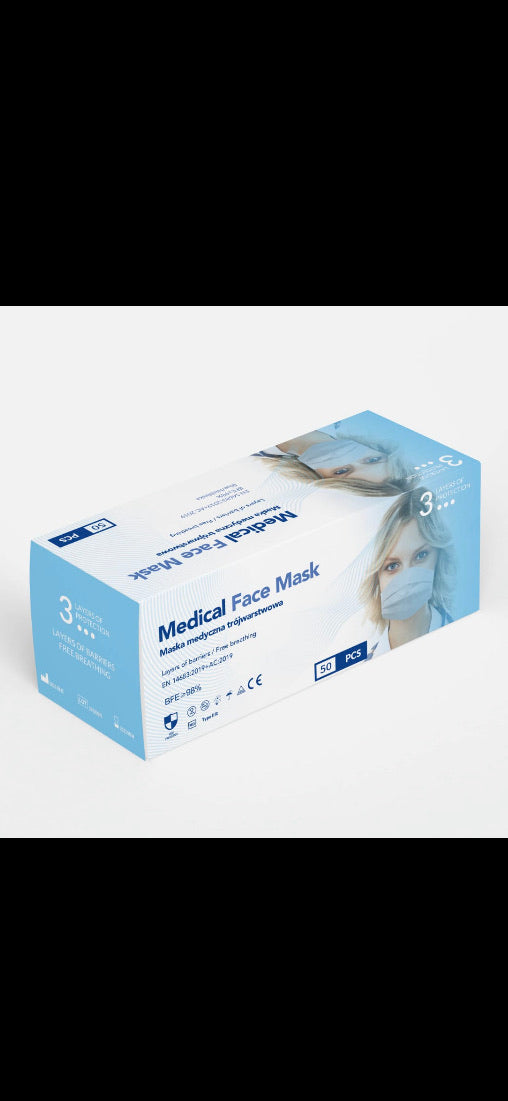 Medical grade EN14683 3 ply masks