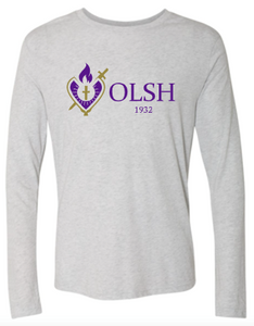 OLSH HEART LOGO ADULT LONG SLEEVE TRI-BLEND TSHIRT - HEATHER WHITE