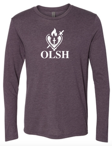 OLSH HEART LOGO ADULT LONG SLEEVE TRI-BLEND TSHIRT - VINTAGE PURPLE
